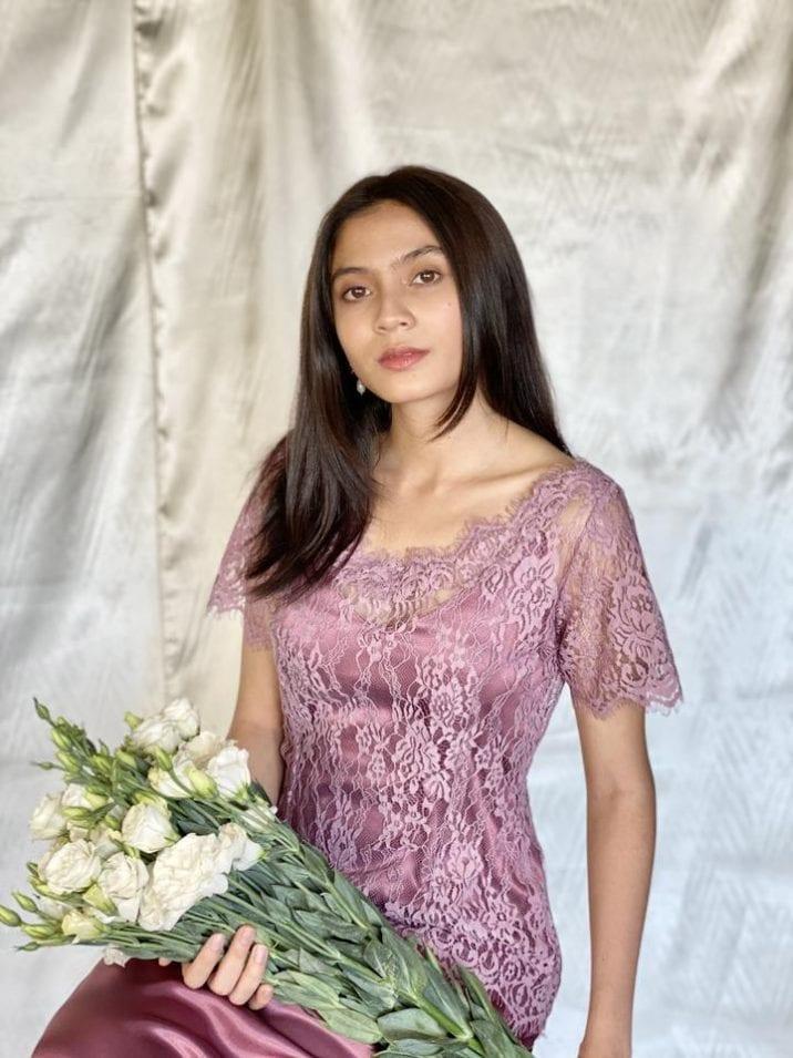 lilac lace kebaya top