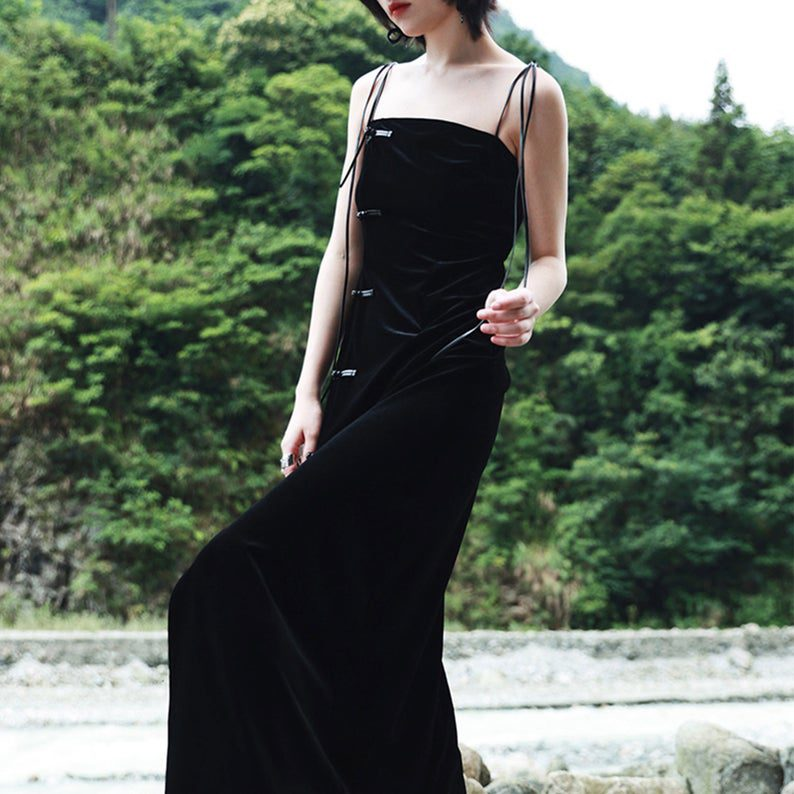 cami style velvet mod qipao dress