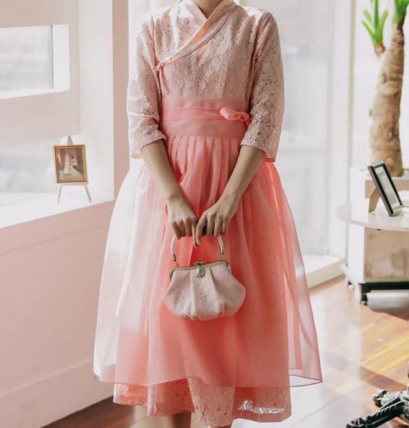 coral lace mod hanbok dress