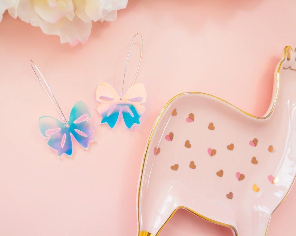 dangle bow mirror acrylic holographic earrings