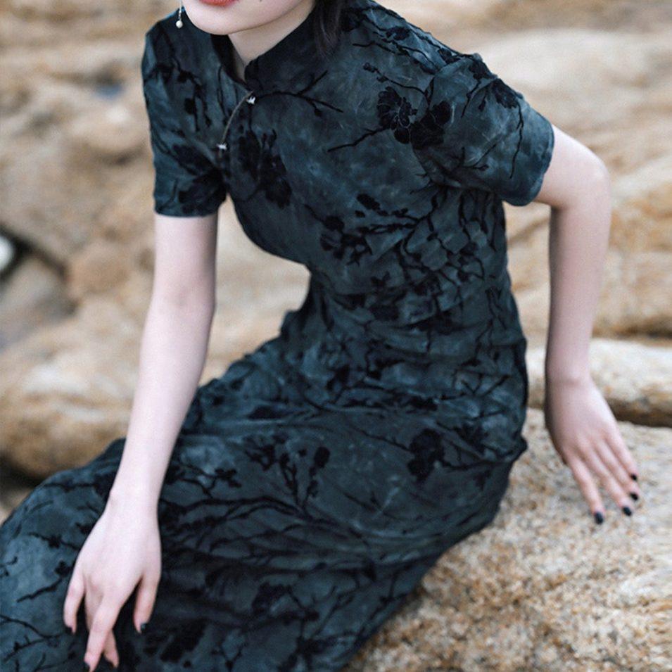 drawstring mod velvet qipao dress