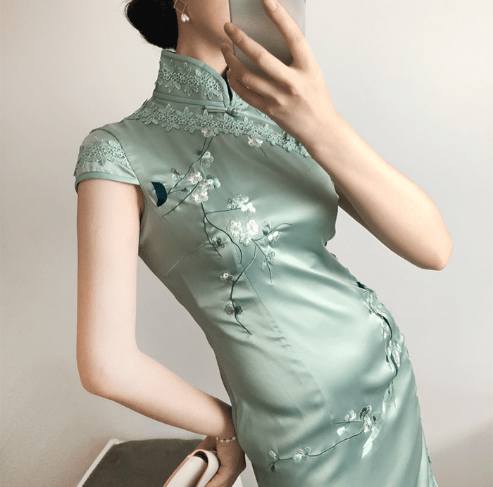 Embroidered Satin Cheongsam Dress