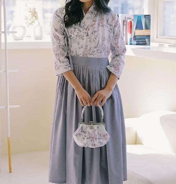 floral grey mod hanbok dress