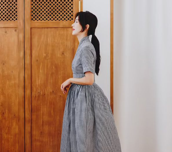 gingham hanbok midi dress