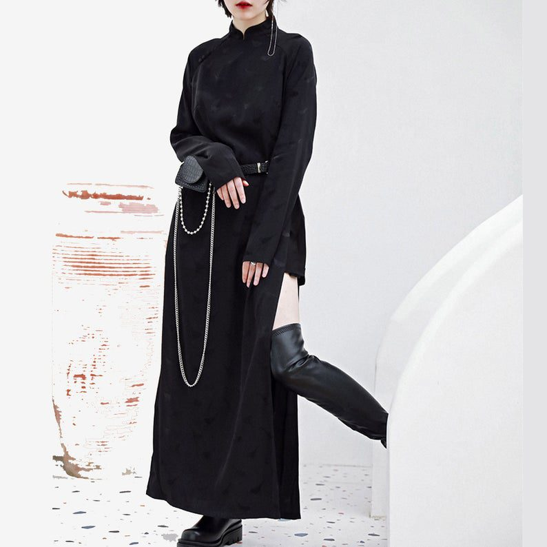 high slit modified black qipao dress