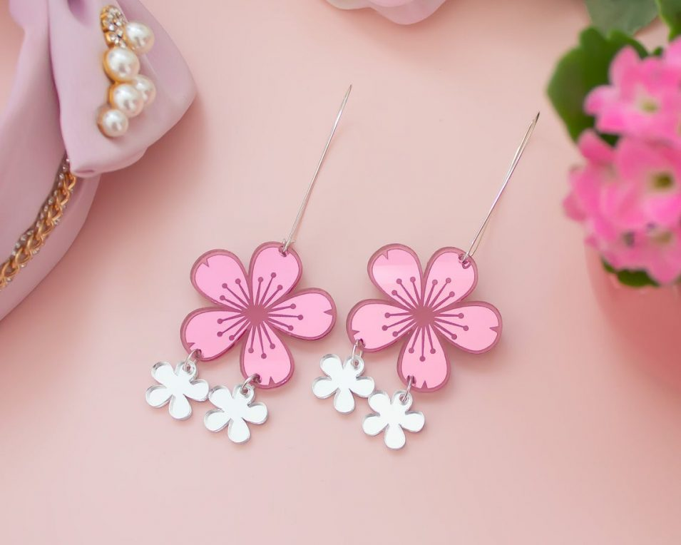 holographic cherry blossom earrings