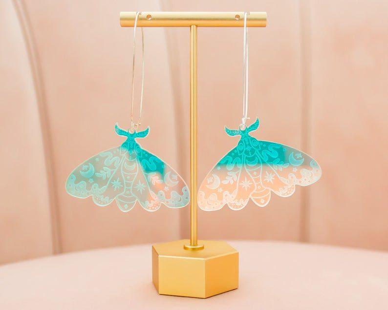 iridescent dangle moth acrylic earrings