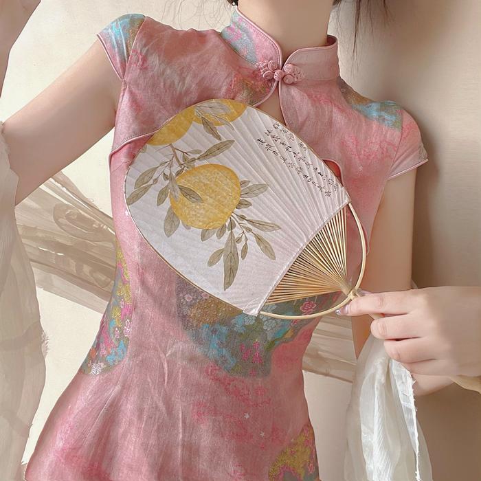 Linen Cheongsam Midi Dress