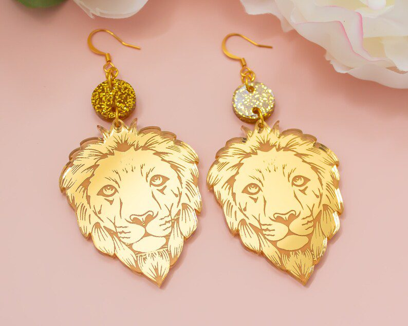 mirror acrylic holographic lion earrings
