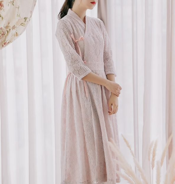 modern lace hanbok dress