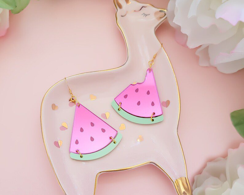 pink watermelon mirror acrylic earrings