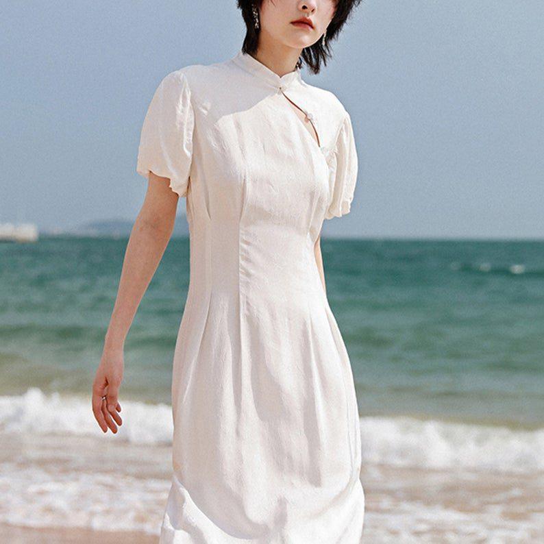 puff sleeve long flowy qipao dress