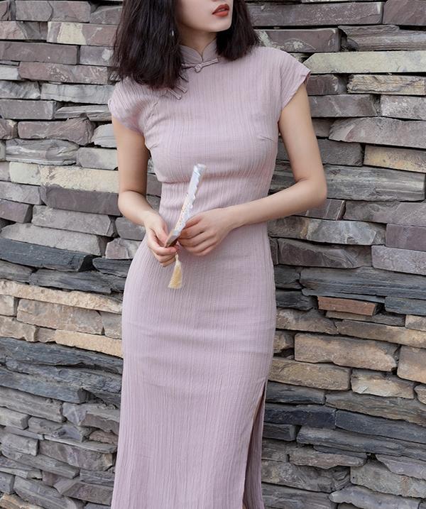 Ribbed Cheongsam Midi Dress