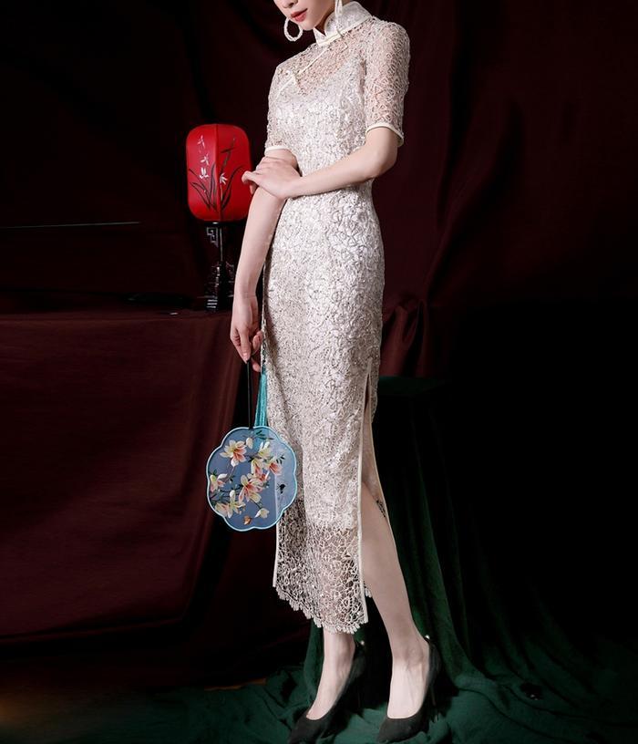 Sequin Embroidered Maxi Cheongsam Dress
