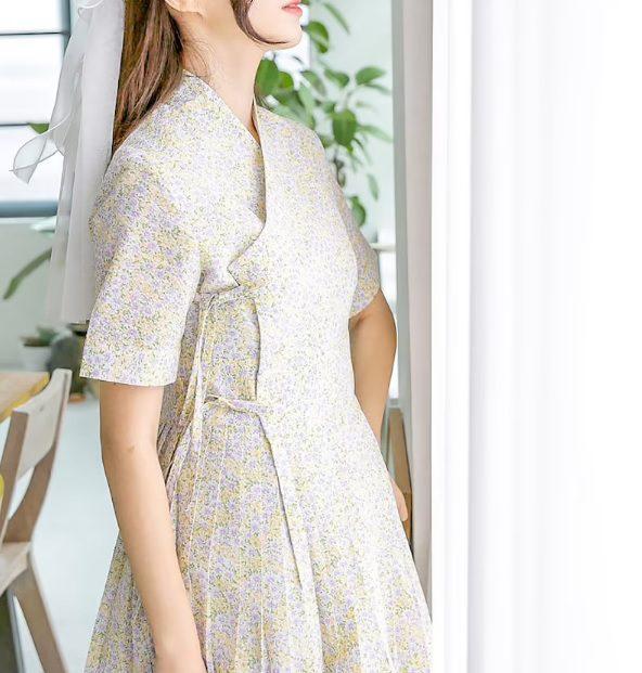 short sleeve floral hanbok dress