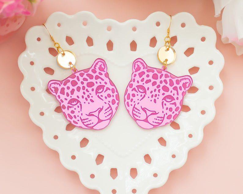 statement leopard acrylic earrings
