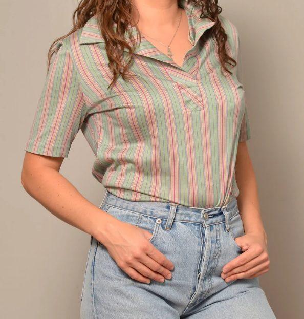 70s retro summer turquoise stripe shirt // OldTimeQueenRetro