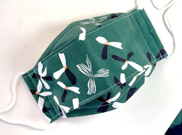 cozy green floral origami 3D mask