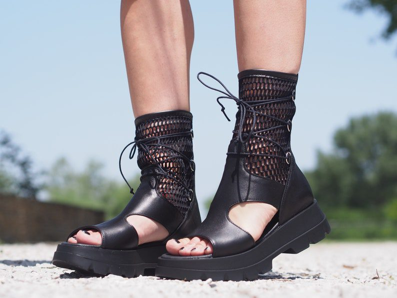 gladiator style leather summer boots