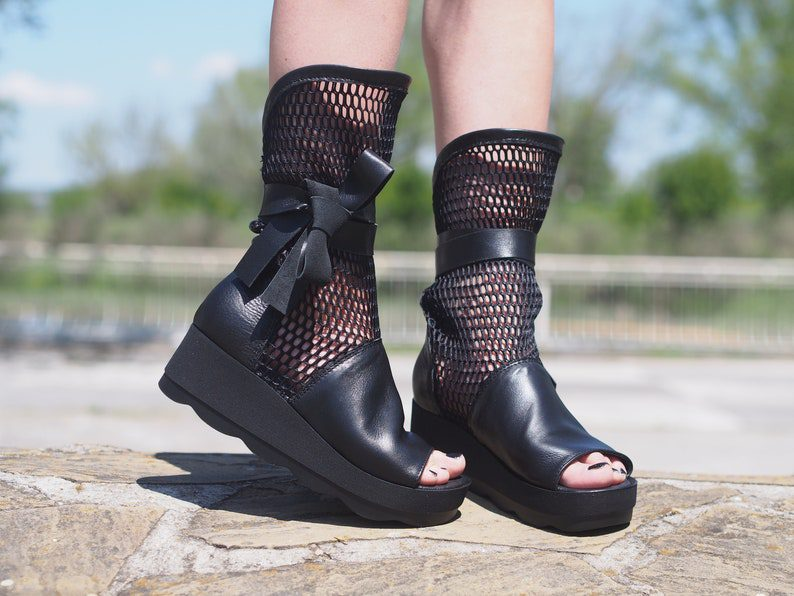 mesh style genuine leather summer boots