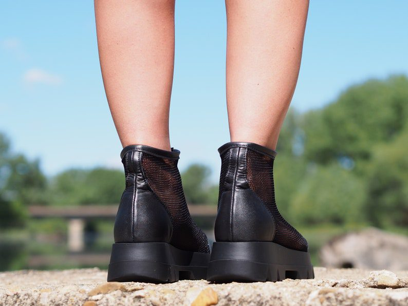 mesh style zipper leather summer boots