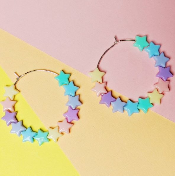 pastel rainbow hoop earrings // GeekCultureKingdom