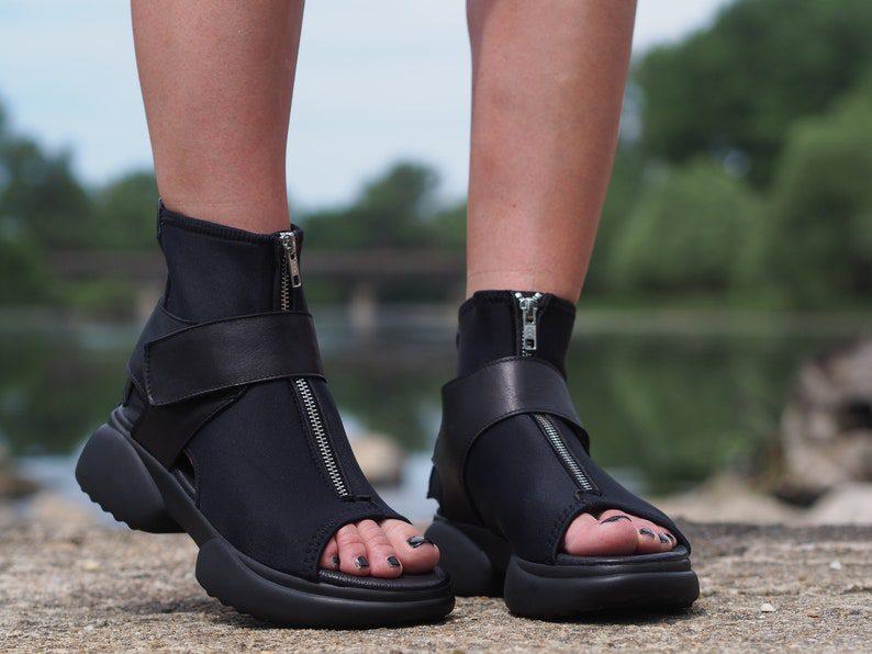 peep toe zipper style summer boots