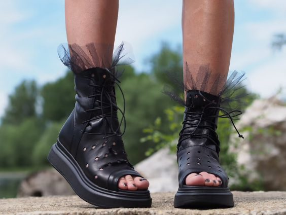 ruffle lace up cut-out summer boots