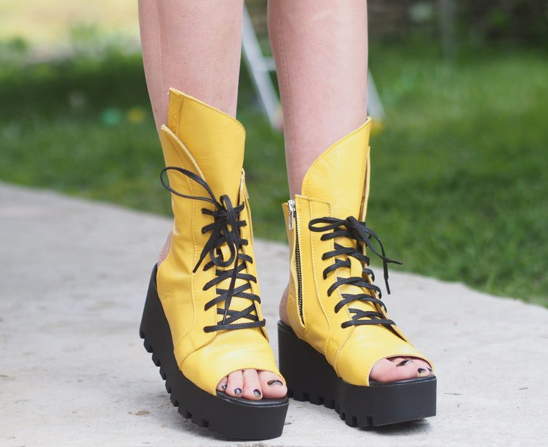 statement yellow lace up summer boots