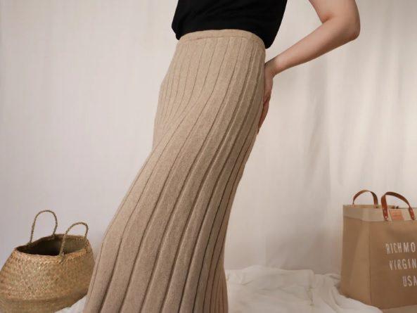 vintage 60s beige cashmere knit skirt // PeonyDaze