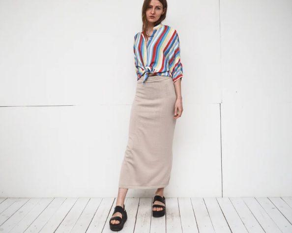 vintage knit beige maxi skirt // bemydear