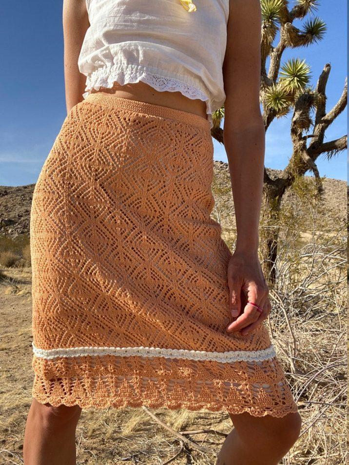 vintage peachy knit 70s skirt // ShopMarzo